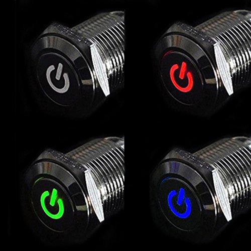 rowzy (TM) New 12V 16mm Bouton poussoir Interrupteur d'alimentation LED en aluminium Argenté en métal type de réglage tonsee