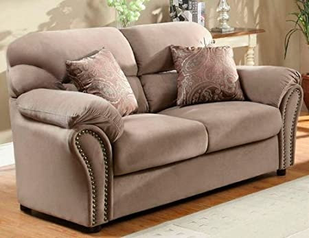 Love Seat w/ 2 Pillows in Brown Microfiber by Homelegance