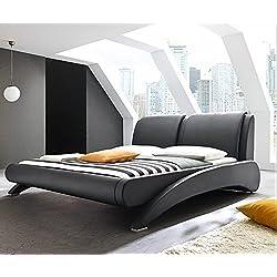 Doppelbett Polsterbett Bettgestell Bett Lattenrost Kunstleder (Schwarz, 160x200cm)