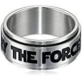 Star Wars Jewelry Men's May The Force Be with You Stainless Steel Spinner Ring, Size 10