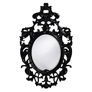 Howard Elliott Collection 2146BL Dorsiere Oval Mirror, 31-Inch by 51-Inch, Glossy Black Lacquer