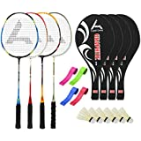 Guru GraphiteBR04 Series-COMBO-2 Badminton Racquets Set Pack Of Four With Four Cover Six Shuttlecock & Four Hand...