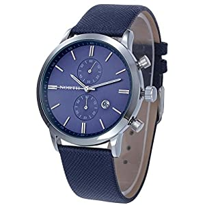 Dreaman 1PC Fashion Men Casual Waterproof Date Leather Watch Blue