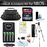 16GB Accessory Kit For Nikon Coolpix L330, L340, L310, L810, L820, L620, L830, L840 Digital Camera Includes 16GB Memory, Case, Tripod, 4 AA High Capacity NIMH Rechargeable Batteries + Charger + More