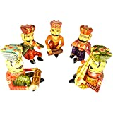 Rajgharana Handicrafts Multi Color Wooden Rajasthani Musician Bawla (Set Of 5) - 14 Cm X 30 Cm