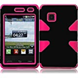For LG 840G LG840G Dynamic Hybrid Tuff Hard Case Snap On Phone Silicone Cover Black/Hot Pink Accessory