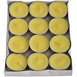 Vansh Sales Aluminum Scented Decorative Tealight Candles - Pack Of 12 (4 Cm X 4 Cm X 1 Cm, Yellow)