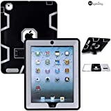 iPad 4 Case, MagicSky Shockproof / Impact Resistant Rugged Hybrid Dual Layer Defender for iPad with Retina Display (iPad 4th Gen), Full Body Protective Case with Kickstand for iPad 2/iPad 3 - Pure Grey/Black