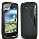Gadget Giant Huawei Ascend G300 Black S Line Gel Grip Silicone Case Cover & LCD Screen ProtectorÂ