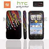 htc EVO 3Dケース stylish design silicon Case (au ISW12HT対応)【Black Star Rainbow (虹流星)】+ 液晶保護フィルム1枚