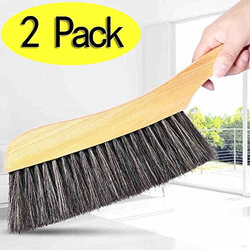 Soft Cleaning Brush -2PCS Wood Handle Hotel Family Clothes Dust Hair Sofa Bed Sheets Bedspread Carpet Cleaning Natural Bristle Brush Wooden Large for Home Office and Car Set of 2 (Hair Brush Sheet compare prices)