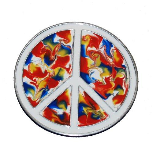 TIE-DYE PEACE SIGN BELT BUCKLE COOL