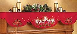 Collections Etc Lighted Christmas Candles Mantel Scarf Decor by Collections Etc