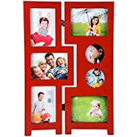 Priya Collections Glass 7-in-1 Collage Photo Frame With Frame (48 Cm X 30 Cm X 3 Cm, Red)