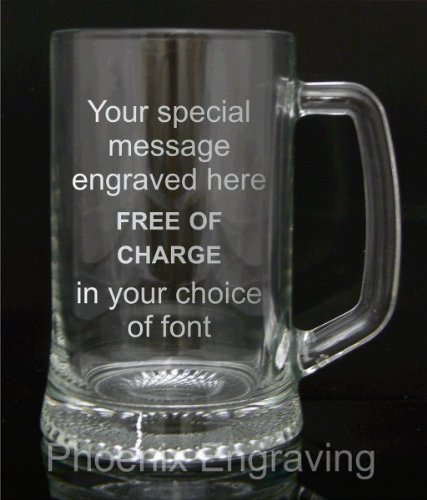 Pint Glass Tankard, Engraved, Luxury Blue Gift Box Included