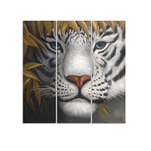 H.Cozy Hand Painted The Terrible Tiger High Q. Wall Decor Animal Oil Painting On Canvas 8X24Inch 3Pcs/Set front-418439