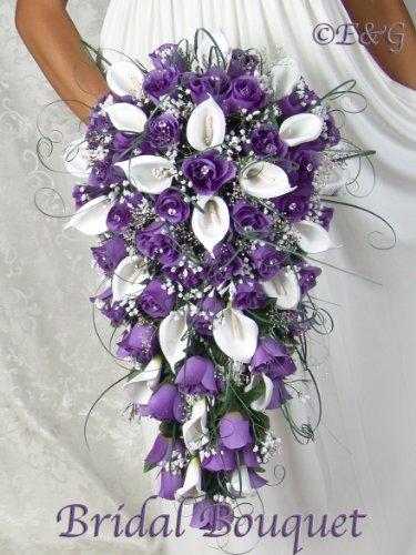 Bridesmaid Flowers Purple : Cascade bridal bouquets