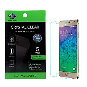 MAK - Samsung Galaxy Note 4 Premium Hd Clear Version Screen Protector (Pack of 5) Retail Packed - Includes MAK Microfiber Cleaning Cloth and MAK Application Card