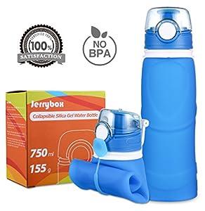 Gourde JerryBox bouteille pliable en gel silicone - 750 ml, qualitémédicale, sans BPA, approuvée FDA, bouteille en silicone pour sports pliable et garantie sans fuites pour les activités de plein air, sports, voyages, camping, piquenique (26 onces) (bleu, 750ml)