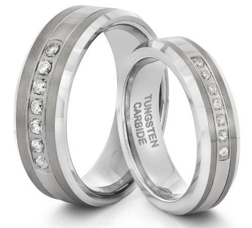 His & Her's 8mm/6mm Tungsten Carbide Silver CZ