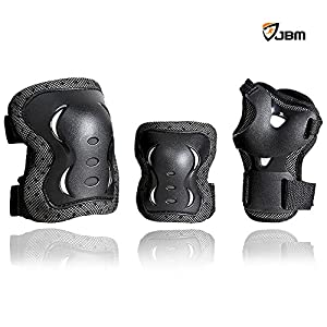 JBM® Children Cycling Roller Skating Knee Elbow Wrist Protective Pads--Black / Adjustable Size, Suitable for Skateboard, Biking, Mini Bike Riding and Other Extreme Sports (Black, Youth / Teen)