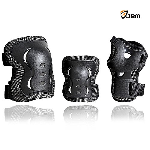 JBM® Children Cycling Roller Skating Knee Elbow Wrist Protective Pads--Black / Adjustable Size, Suitable for Skateboard, Biking, Mini Bike Riding and Other Extreme Sports