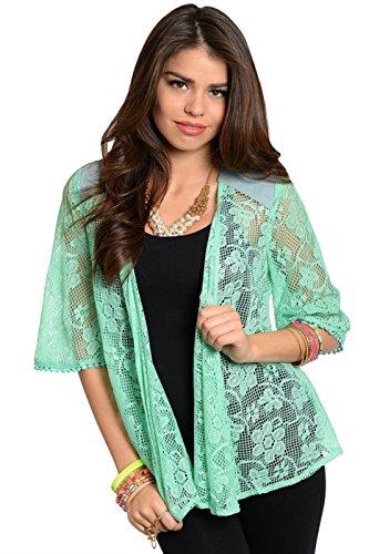 2Luv Women'S 3/4 Sleeve Lace Kimono Cardigan Mint M (Lj00050)