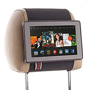 TFY Car Headrest Mount Holder for Kindle Fire HD 7, 2014 Edition, Fast-Attach Fast-Release Edition, Black from TFY