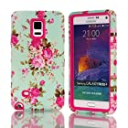 Note 4 Case,Not 4 Rose Cases,Candywe Case For Samsung Galaxy Note 4,Blue Flowers Print 3in1 Design Hybrid Case Cover For Samsung Galaxy Note 4