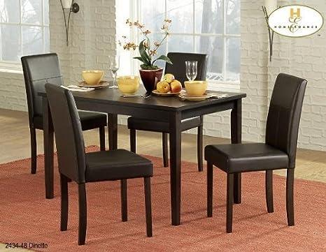 Homelegance Dover 5 Piece Rectangular Dining Room Set in Espresso