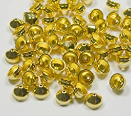 100 End Cap, Gold-plated Brass, String-on Style, 7x5mm with Hole, 6mm Inside Diameter. Sold Per Pkg of 100.