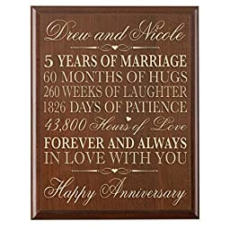 Personalized 5th Wedding Anniversary Wall Plaque Gifts for Couple, Custom Made 5th Anniversary Gifts for Her,5th Wedding Anniversary Gifts for Him Plaque By Dayspring Milestone (Cherry)