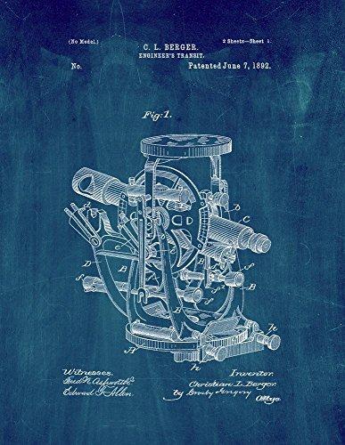 Engineer's Transit Patent Print Art Poster Midnight Blue (11