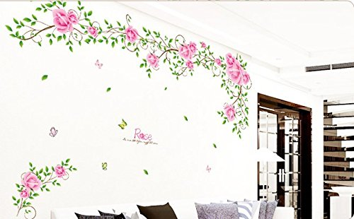 Romantic Wedding?Room Cozy Bedroom?Wall?Stickers Rose Vines front-299573