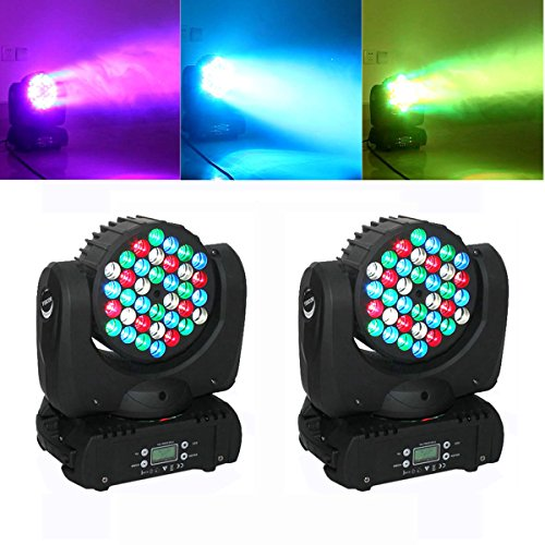 Yiscor Stage Lighting Led Par Light Spot Beam 108W 36Leds Rgbw (4In1) Dmx512 Moving Head For Home Garden Xmas Christmas Birthday Party Dj Disco Club Effect (Pack Of 2)