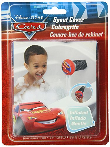 Disney Inflatable Spout Cover - Cars Theme - 100% Safe Vinyl, BPA Free - Fits Over Most Spouts - Cushioned Protection - Easy Flow - For Travel or Home Use