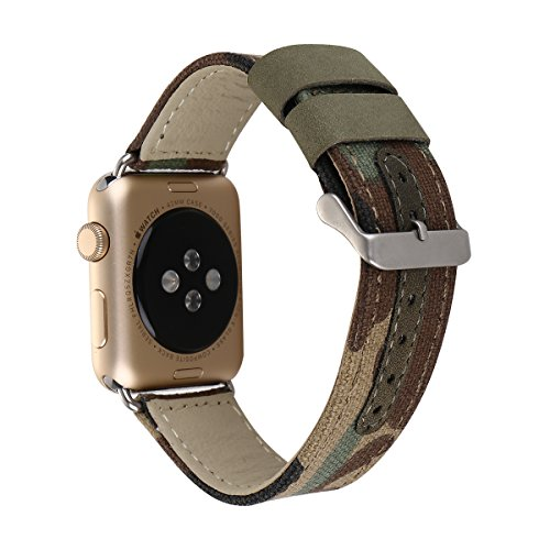 Apple Watch Band, LiQi Denim Jean Stile di ricambio panno in vera pelle braccialetto cinturino con fibbia in acciaio inox per Apple iWatch e Sport & Edition (Denim Jean Camouflage)