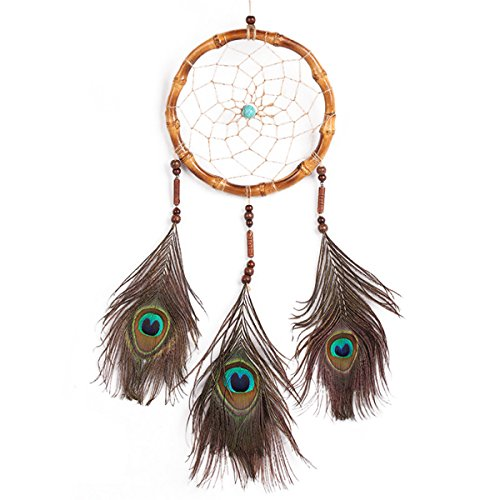 India Style Handmade Dream Catcher Circular Love Heart Net With feathers Wall Hanging Decoration Decor Craft Gift Dream(coffee)