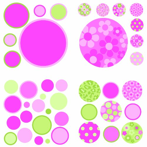 Brewster Wall Pops Wpd94572 Peel & Stick Gone Dotty, Pink/Green, 4-Sheets front-54389