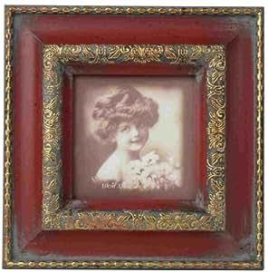 Clayre eef cadre photo carr de style ancien imitation bois rouge or - Cadre photo style ancien ...