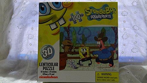 Spongebob Squarepants Cowboy Lenticular Puzzle 12inches x 9 inches 100 pieces