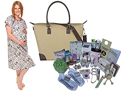 Posh Mama Non-Toxic Prepacked Hospital Labor Bag and Hospital Labor Gown: Baby Shower Gifts