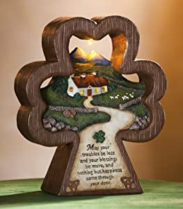 Amazon.com - Collections Etc - Irish Blessing Shamrock Lighted