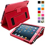 Snugg Red Leather iPad Mini & Mini 2 Retina Case with Lifetime Guarantee - Flip Stand Cover with Auto Wake/Sleep, Elastic Hand Strap & Protective Premium Nubuck Fibre Interior for the Apple iPad Mini & Mini Retina