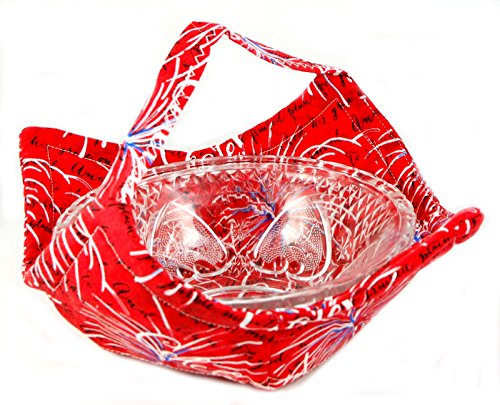 Fabric Microwave Bowl With Handle - Handmade In The Usa - Celebrate, Red White And Blue