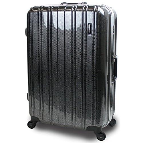 【SUCCESS サクセス】 スーツケース キャリーバック 2サイズ( 大型 76cm / ジャスト型 71cm ) 軽量 安心フレーム TSAロック 搭載 新型 ジェノバPC2015 (大型 Lサイズ(76cm), カーボンブラック)