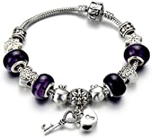 Cristal de Murano de Púrpura, Bloqueo Cardíaco, Charm Pulsera de Mujer Niñas, Pulsera del Encanto
