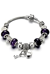 Purple Murano Glass Heart Lock Beads Charms Beaded Bracelets