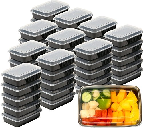 50 Pack - SimpleHouseware Reusable Food-Grade Safe Meal Prep Container 1 Compartment 28 Ounces (Commercial Grade Food Containers compare prices)