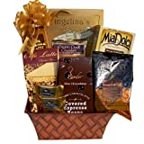 Great Gifts Baskets Caffè Dolce: Bellagio Tuscany Roast Coffee, Ghirardelli Caramel Squares, Mocha Latte Mix, Cookies, Dark Chocolate Espresso Beans, More in Metal Planter